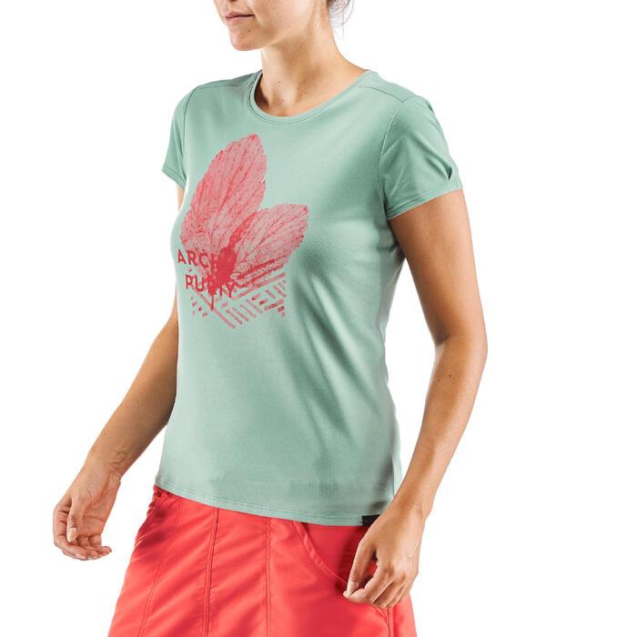 Dames T-shirt wandelen in de natuur NH500 kaki