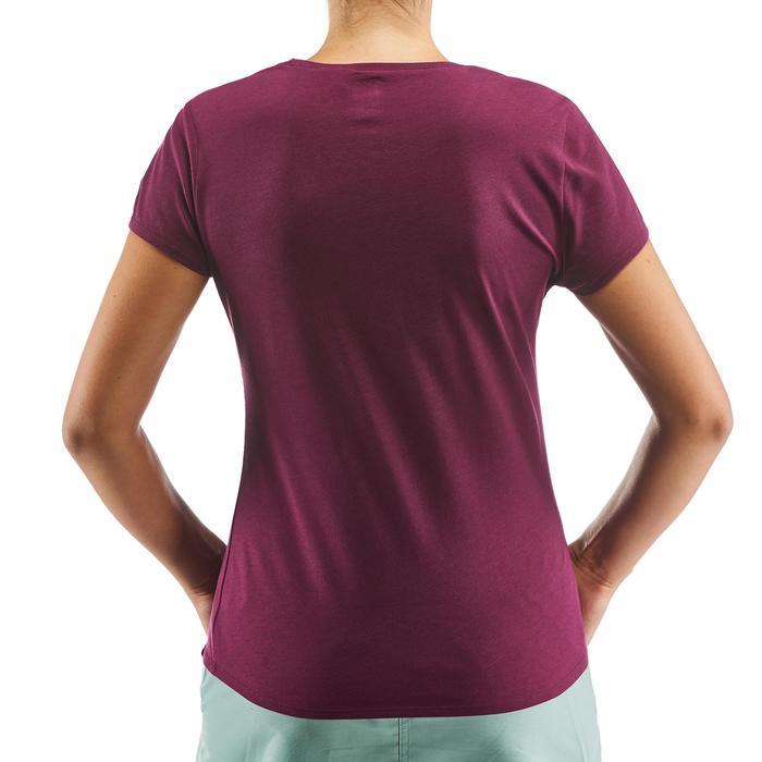 Camiseta Manga Corta de Montaña y Senderismo Quechua NH500 Mujer Violeta