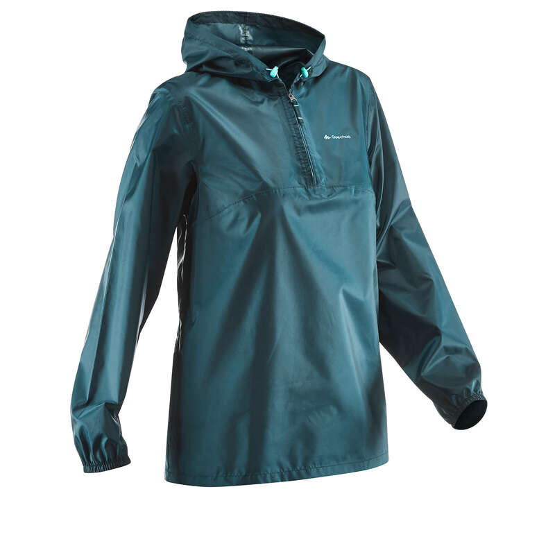 WOMEN NATURE HIKING JACKETS ALL WEATHER Hiking - Raincoat NH100 - Blue QUECHUA - Hiking Jackets
