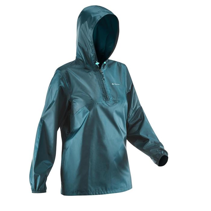 Regenjas voor hiking in de natuur Dames NH100 Raincut Demi Zip
