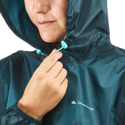 Chaqueta Impermeable Montaña y Senderismo Quechua NH100 Raincut Mujer Azul Turqu