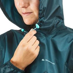 Chaqueta impermeable senderismo naturaleza NH100 Raincut azul turquesa mujer