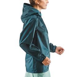 Regenjas voor wandelen in de natuur NH100 Raincut turquoise dames