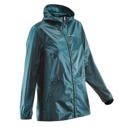 Women's Country Walking Waterproof Rain Jacket NH100 Raincut Zip - Turquoise