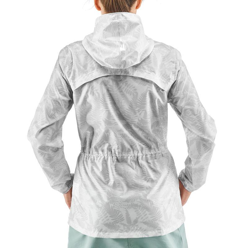 Women's Nature Hiking Rain jacket NH100 Raincut Full Zip- White