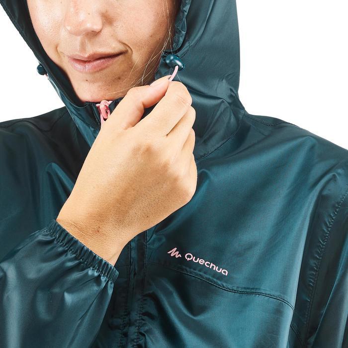 女款拉鍊式防水郊野健行防雨外套Raincut NH100-淺碧藍色