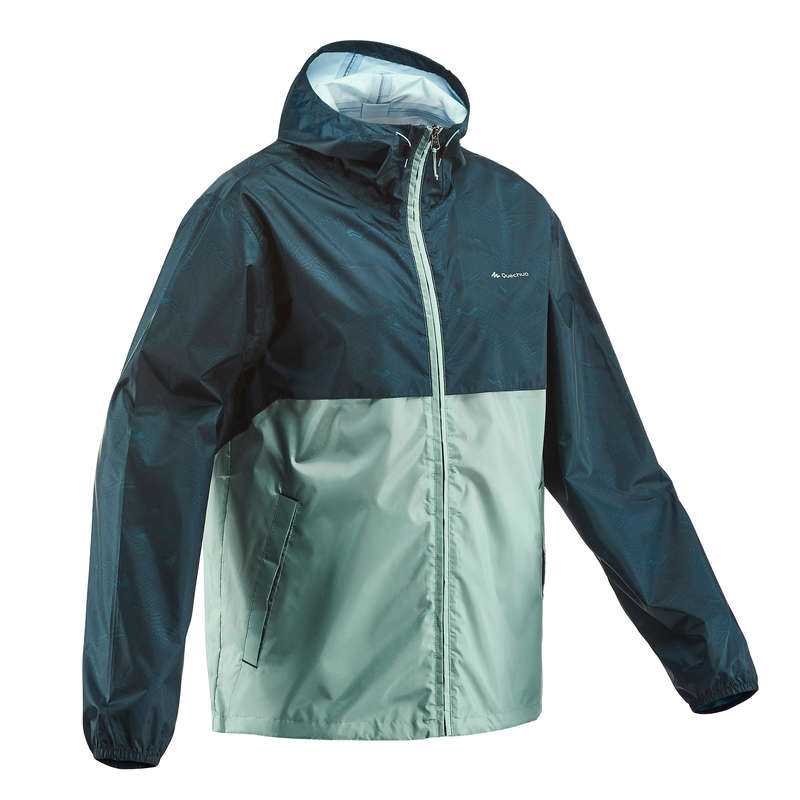 MEN NATURE HIKING JACKETS ALL WEATHER Hiking - M Raincut Zip NH100 - Green QUECHUA - Hiking Clothes