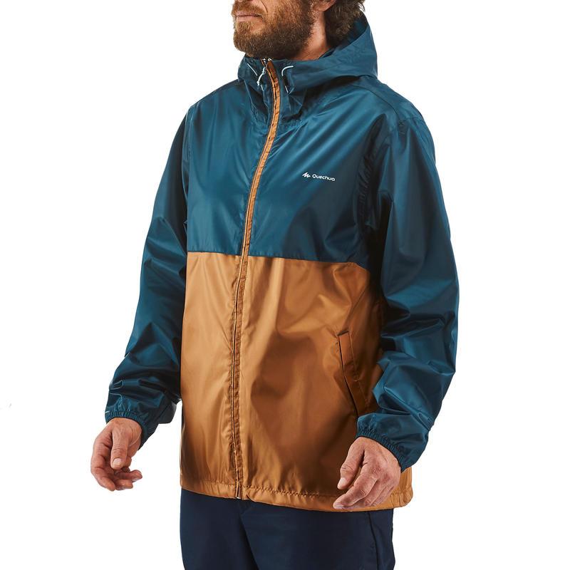 Men's Raincoat NH100 (Full Zip) - Brown/Navy Blue