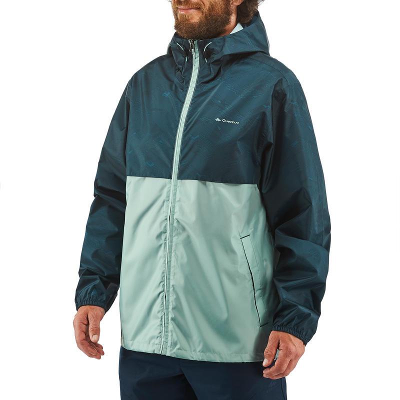 Men's Raincoat NH100 (Full Zip) - Green