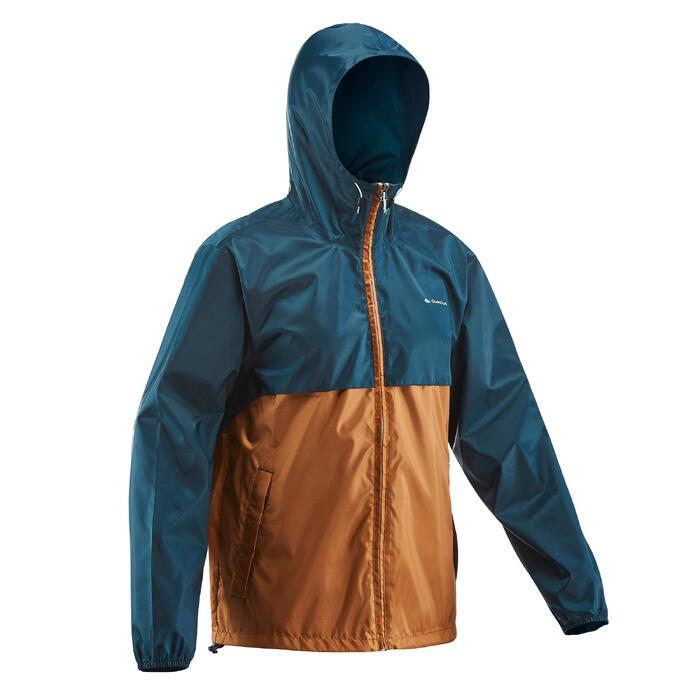 Regenjack voor wandelen in de natuur NH100 Raincut rits bruin heren