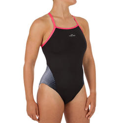 Women Swimming Costume V-cut - Black white