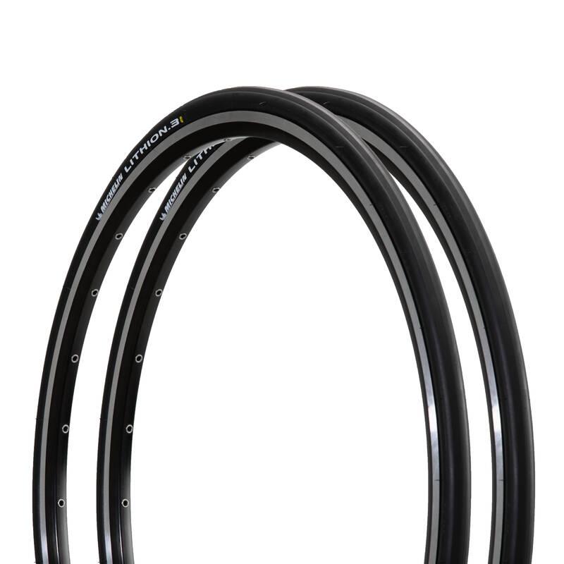 PLÁŠŤ SILNIČNÍ Cyklistika - SADA PLÁŠŤŮ LITHION 3 700 × 25 MICHELIN - Náhradní díly a údržba kola
