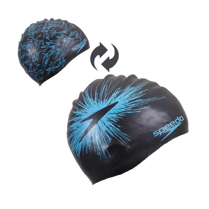 Bonnet de natation silicone REVERSIBLE noir bleu