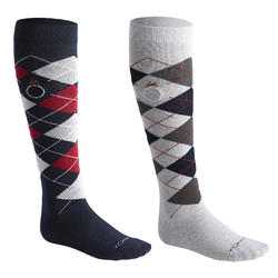 Losanges Adult Horse Riding Socks - Navy/Light Grey