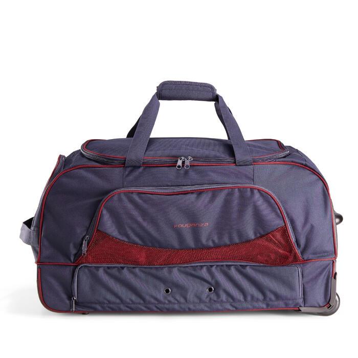 Tas op wieltjes voor ruitersport materiaal trolley 80 l marineblauw en bordeaux