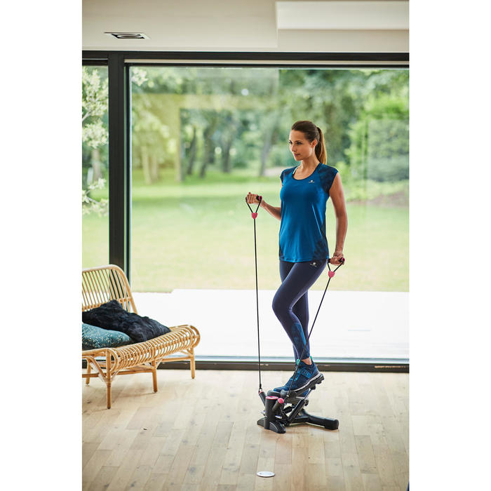 Stepper Cardio Fitness Domyos Twister MS500 con elásticos negro rosa