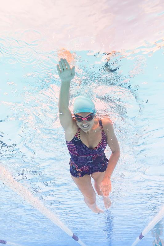 Maillot de bain de natation femme gainant une pièce Kaipearl skirt eve violet