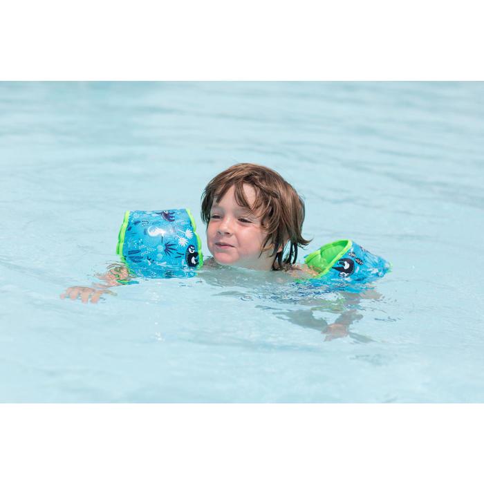 Zwembandjes blauw met zachte binnenkant en luiaardprint kinderen van 15 -30 kg