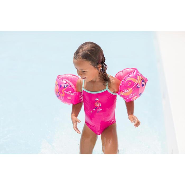 女嬰單件式連身泳裝Madina,粉色紅鶴印花