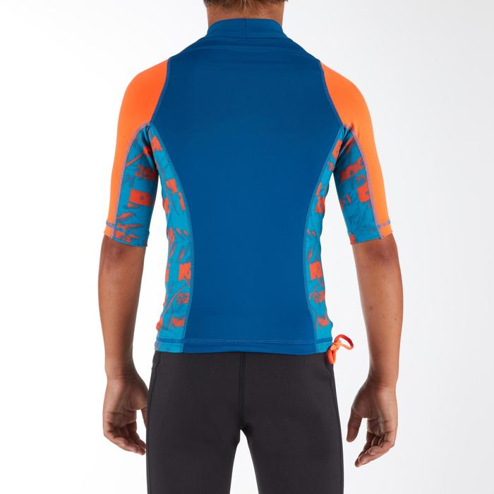 Tee shirt anti uv surf top 500 manches courtes enfant bleu imprimé