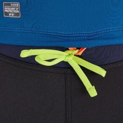Camiseta anti-UV de surf Top 500 manga corta niño azul estampado.
