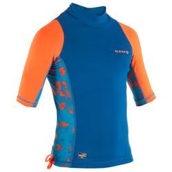 Top Camiseta Proteción Solar Playa Surf Olaian Uvtop500 Niño Azul Rojo ANTI-UV