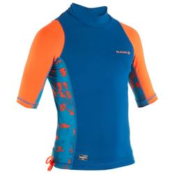 UV-Shirt Surfen Top 500 kurzarm Kinder blau mit Print