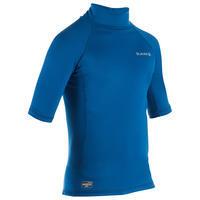 Kids' anti-UV short-sleeve fleece thermal surfing top T-shirt – Blue