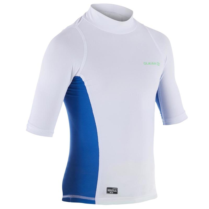 0d0a2bec 500 Children's Short Sleeve UV Protection Surfing Top T-Shirt - White |  olaian