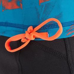 Uv-werende rashguard 500 met korte mouwen voor kinderen lichtblauw met print