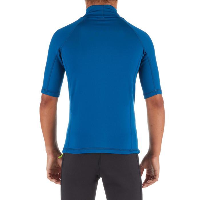 tee shirt anti UV surf top thermique polaire manches courtes enfant bleu