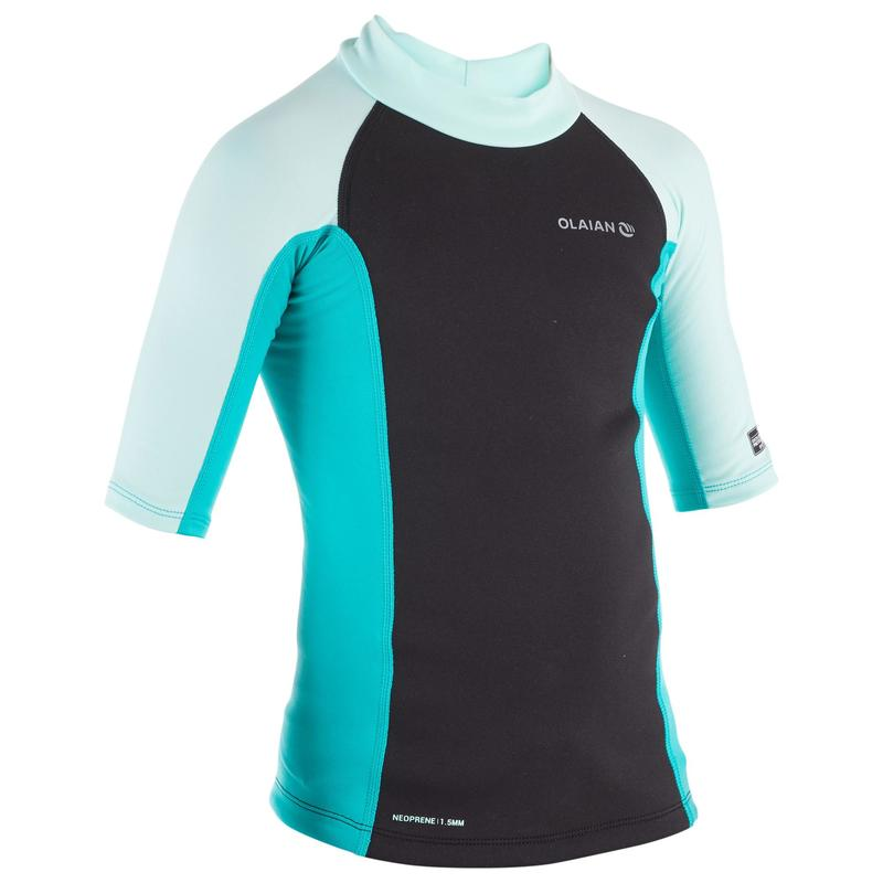 Kids' Short Sleeve Neoprene Thermal UV Protection Top Surf T-Shirt - Mint