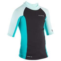 tee shirt anti UV surf top néoprène thermique manches courtes enfant menthe