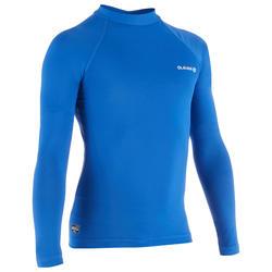 Uv-werende rashguard met lange mouwen voor surfen kinderen 100 blauw