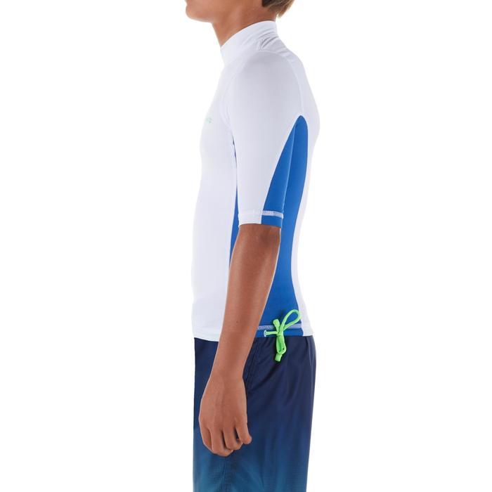 Tee shirt anti uv surf top 500 manches courtes enfant blanc