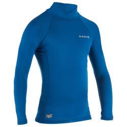 兒童款抗UV保暖衝浪長袖T恤-浩藍色