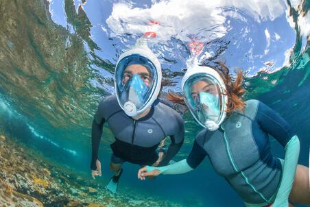 Masker snorkeling permukaan Easybreath - Navy Blue