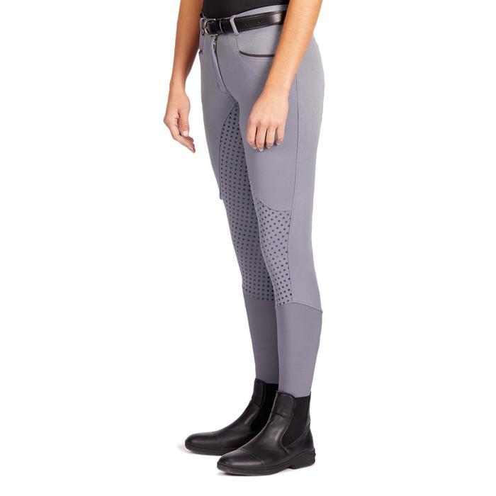 Pantalón Equitación Fouganza 580 Fullgrip Mujer Gris Badana y Culera De Silicona