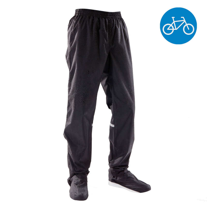 RAIN WEATHER CITY CYCLING APPAREL & ACC Clothing - 500 Urban Waterproof Cycling Overtrousers - Black B'TWIN - By Sport