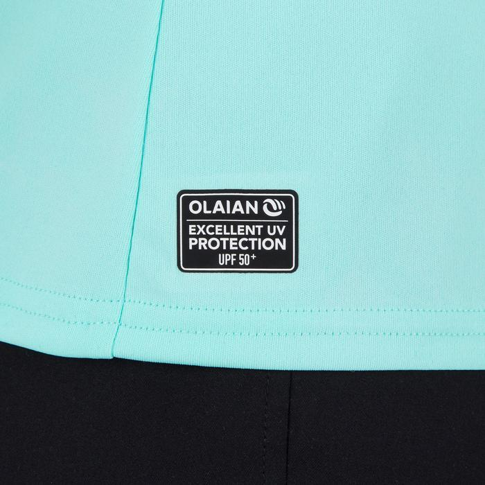 Uv-werend zwemshirt met lange mouwen dames, voor surfen, koraal lichtgroen