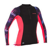 WOMEN'S SURFING LONG-SLEEVE UV RASH GUARD 500 - BLACK AND PINK PRINT