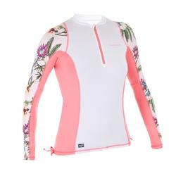 Women's long-sleeve UV Protection Surfing Top T-Shirt 500 white and pink print