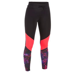 WOMEN'S UV-RESISTANT 500 SURF LEGGING PINK AND BLACK