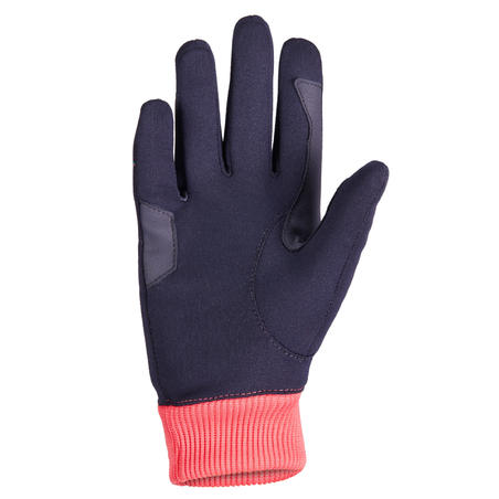 Easywear Children's Warm Horse Riding Gloves - Navy Blue/Pink