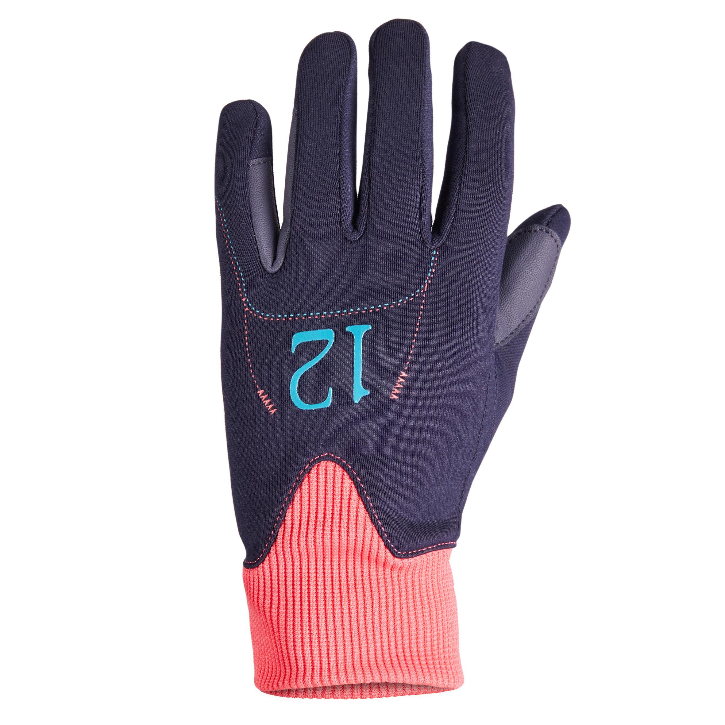 Easywear Children's Warm Horseback Riding Gloves - Navy Blue / Pink