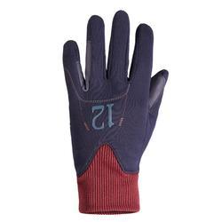 Warme rijhandschoenen voor kinderen Easywear marineblauw/bordeaux