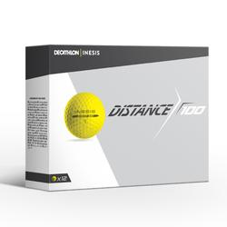Bola de golf DISTANCE 100 X12 Amarillo
