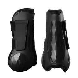 Protectores Equitación Fouganza 500 Jump Caballo Negro Forma Anatómica Abiertos