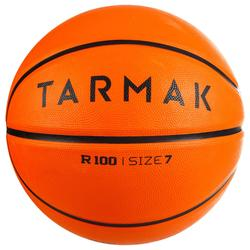 Balón de baloncesto adulto R100 talla 7 naranja perfecto iniciación y resistente