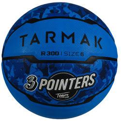 Basketbal R300 maat 6 blauw voor meisjes, jongens en dames die beginnen spelen